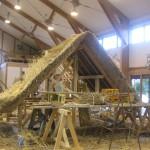 施工依頼があってから、訓練校実習棟内に合掌屋根の練習台を作り、猛特訓しました